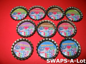 Mini Brownie GS Are The Best Bottle Caps SWAPS Kit for Girl Kids Scout makes 25