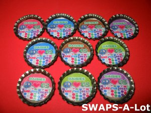 Mini Daisy GS Are The Best Bottle Caps SWAPS Kit for Girl Kids Scout makes 25
