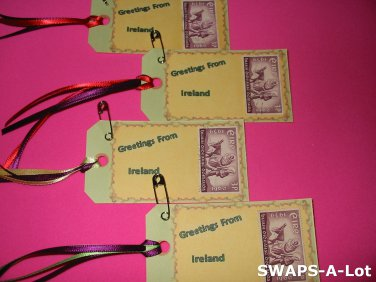 Mini Greetings From Ireland Stamps Thinking Day SWAPS Kit for Girl Kids Scout makes 25