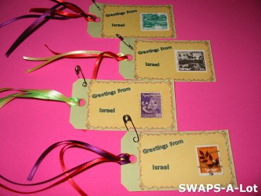 Mini Greetings From Israel Stamps Thinking Day SWAPS Kit for Girl Kids Scout makes 25
