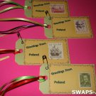 Mini Greetings From Poland Stamps Thinking Day SWAPS Kit for Girl Kids Scout makes 25