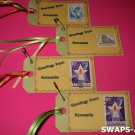 Mini Greetings From Romania Stamps Thinking Day SWAPS Kit for Girl Kids Scout makes 25