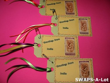 Mini Greetings From India Stamps Thinking Day SWAPS Kit for Girl Kids Scout makes 25
