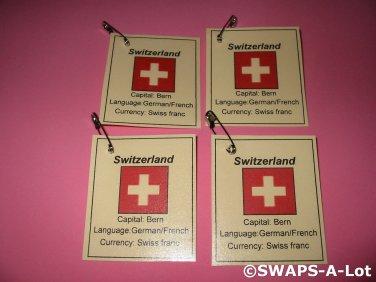 Mini Switzerland: Flag, Capital Thinking Day Girl Scout SWAPS Kids Craft Kit makes 25