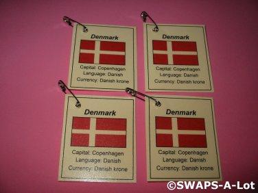 Mini Denmark: Flag, Capital Thinking Day Girl Scout SWAPS Kids Craft Kit makes 25