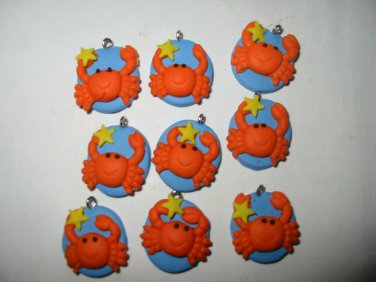 """Lot of 48 Cutie Crab Fimo Clay Charms 3/4"""""""