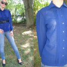 VtG Secretary Blouse Navy BLUE Judy Bond TUXEDO pleat S