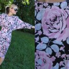 Vtg 80s RUCHED Batwing Dress SKINNY CUT Black Pink XS S