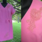 Vintage 60s PINK Dress Mod Space Age Hippie L XL