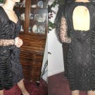 vintage 80s BODY CON SHiRReD WIGGLE COCKTAIL DRESS XS S