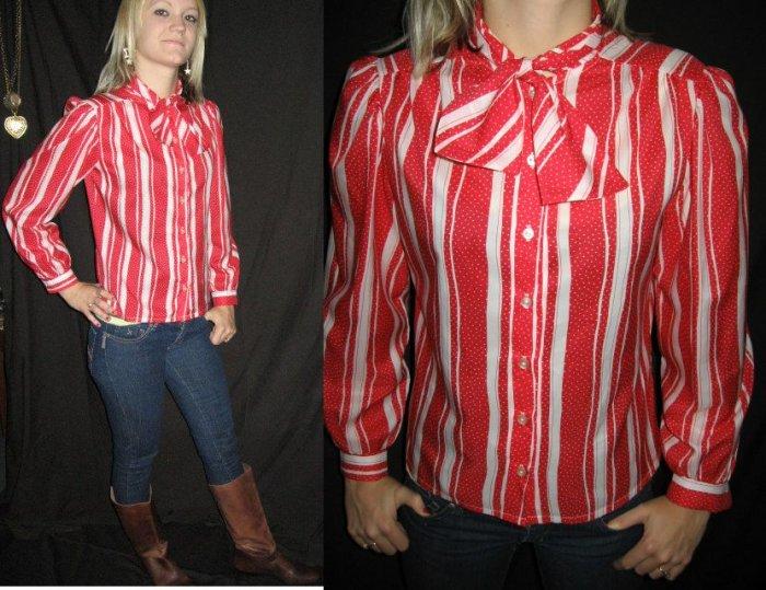 VtG STRIPE blouse Ascot BOW tie POLKA DOT emo punk XS S