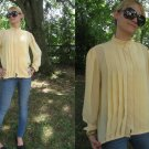 VtG Secretary Blouse SHeeR TUXEDO pleat HIGH NeCK S M