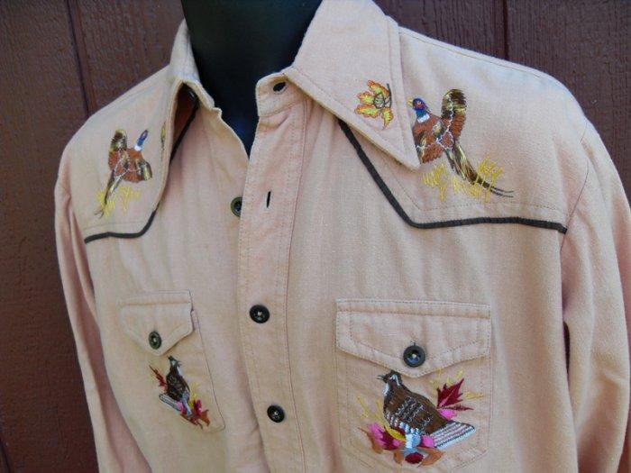 ~ Vtg 70s Western PHEASANT Embroidered Cowboy SHirt S/M