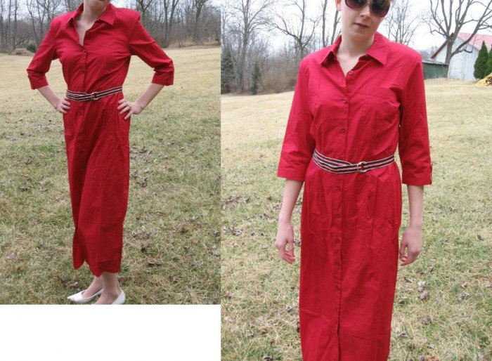 TALBOTS Long Summer SHIRT DRESS Buttons RED NWT NEW 6