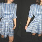 Vtg MiNi DReSS STRIPE MICRO PLEAT MoD FLaRy GiRLy grey blue S M free s/h *
