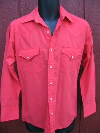 Vtg mens  WESTERN PEARL SNAP SHIRT Cowboy Rockabilly red S