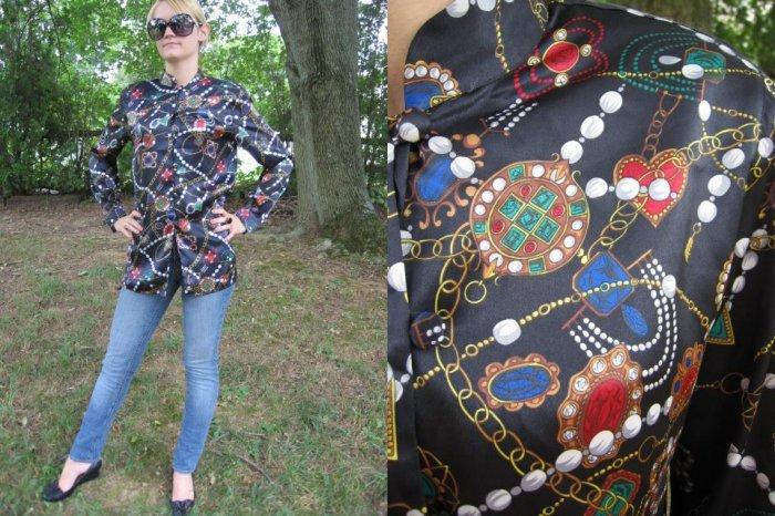 Vintage LIQUID SILK blouse TUNIC TOP Pearl Design XS S