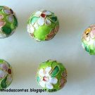 CLOB 1 - Light Green round Cloisonne 12 mm