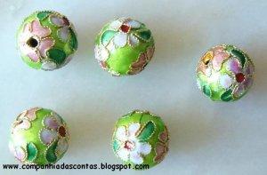 CLOB 1 - Light Green round Cloisonne 12 mm