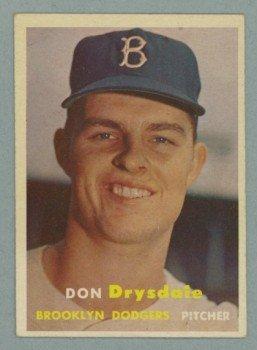 1957 Topps # 18 Don Drysdale RC Dodgers HOF EX