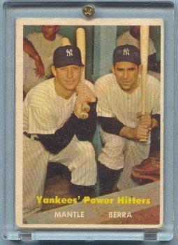 1957 Topps Power Hitters # 407 MANTLE -- BERRA Yankees HOF