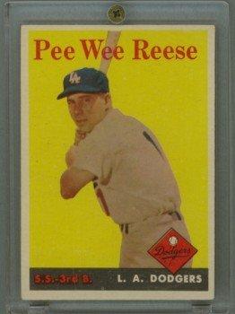 Vintage 1958 Topps # 375 Pee Wee Reese Dodgers HOF