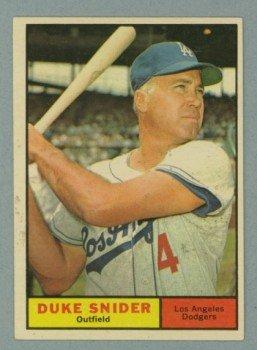 Vintage 1961 Topps # 443 Duke Snider Dodgers HOF