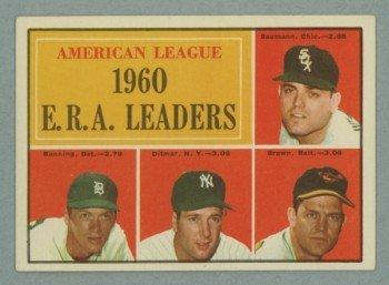 1961 Topps AL ERA Leaders # 46 BUNNING -- DITMAR HOF