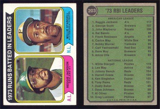 1974 Topps RBI Leaders # 203 JACKSON -- STARGELL EX