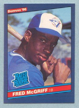 1986 Donruss # 28 Fred McGriff RC Rookie Blue Jays Rookie