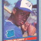 1986 Leaf # 28 Fred McGriff RC Rookie Blue Jays Rookie