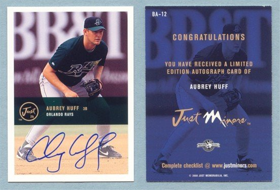 2000 Just Autographs IM 2K # BA-12 AUBREY HUFF RC Rookie Auto