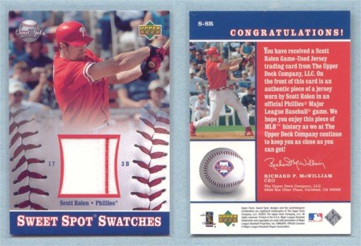 2002 UD Sweet Spot Swatches # S-SR SCOTT ROLEN 2-color GU Jersey