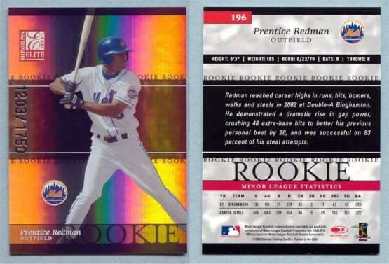 2003 Donruss Elite # 196 PRENTICE REDMAN RC #d 1203 of 1750 Mets Rookie
