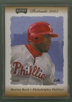2003 Playoff Portraits Bronze # 127 Marlon Byrd GU Jersey #d 004 of 100