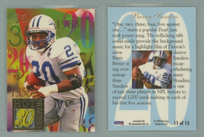 1994 Ultra Flair Hot Numbers # 11 BARRY SANDERS -- MINT