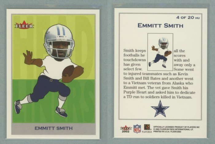 2002 Fleer Tradition Headliners # 4 EMMITT SMITH -- MINT