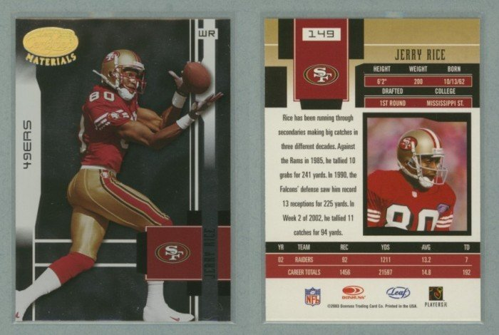 2003 Leaf Certified Materials # 149 JERRY RICE -- MINT