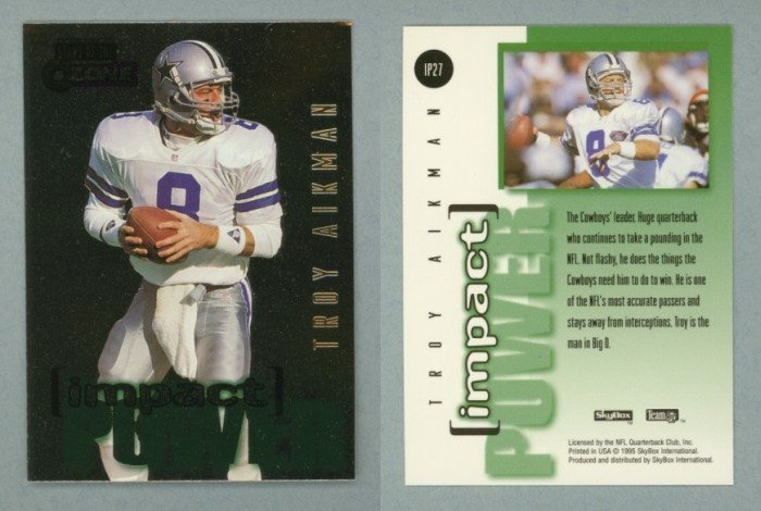 1995 SkyBox Impact Power # IP27 TROY AIKMAN -- MINT