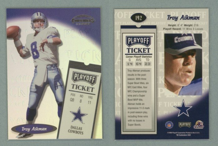 1999 Playoff Contenders SSD # 192 TROY AIKMAN Playoff Ticket -- MINT