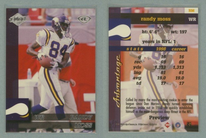 1999 Collector's Edge Advantage Previews # RM RANDY MOSS -- MINT