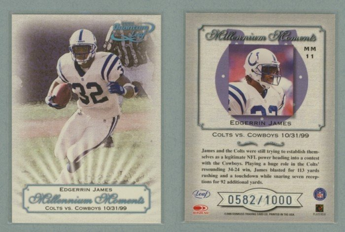 2000 Quantum Leaf Millennium Moments # MM11 EDGERRIN JAMES #d 0582 of 1000 -- MINT