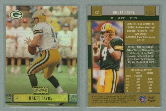 2000 Bowman Reserve # 32 BRETT FAVRE -- MINT