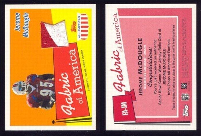 2003 Topps All American Fabric of America # FA-JM JEROME McDOUGLE 2 Color GU Jersey