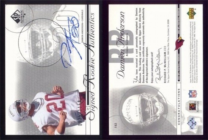 2002 SP Authentic # 192 DAMIEN ANDERSON Auto RC #d 0925 of 1150 -- MINT