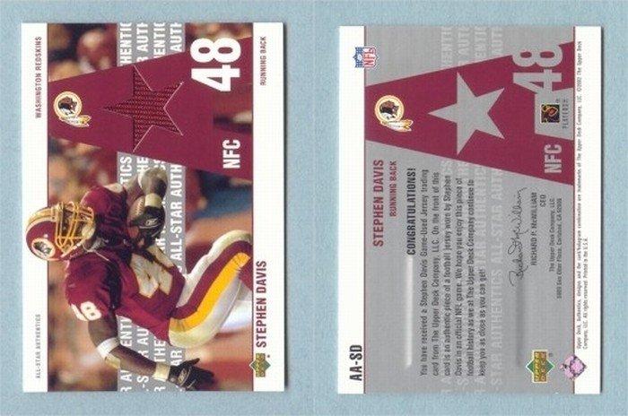 2002 Upper Deck # AA-SD STEPHEN DAVIS GU Jersey Redskins, Panthers