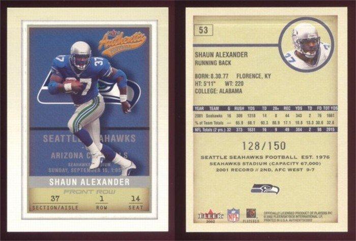 2002 Fleer Authentix # 53 SHAUN ALEXANDER #d 128 of 150 -- MINT