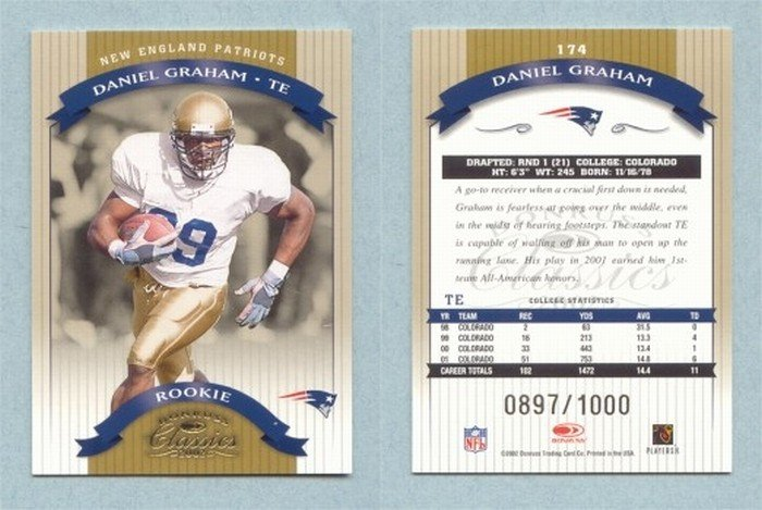 2002 Donruss Classics # 174 DANIEL GRAHAM RC #d 0897 of 1000 Patriots -- MINT