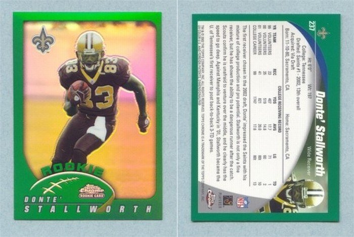2002 Topps Chrome # 237 DONTE STALLWORTH RC Saints -- MINT