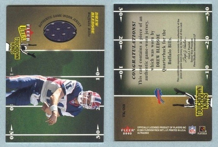 2003 Ultra Touchdown Kings Memorabilia # TK-DB DREW BLEDSOE GU Jersey Cowboys Bills